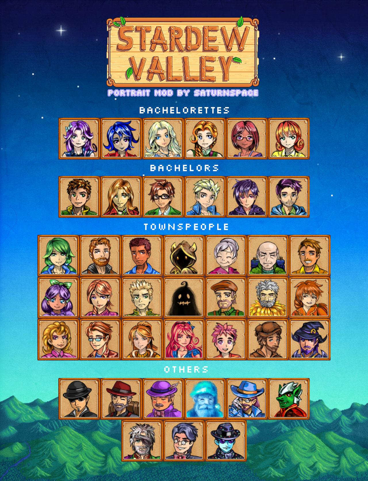 Villagers Portraits Mod for Stardew Valley | Stardew valley