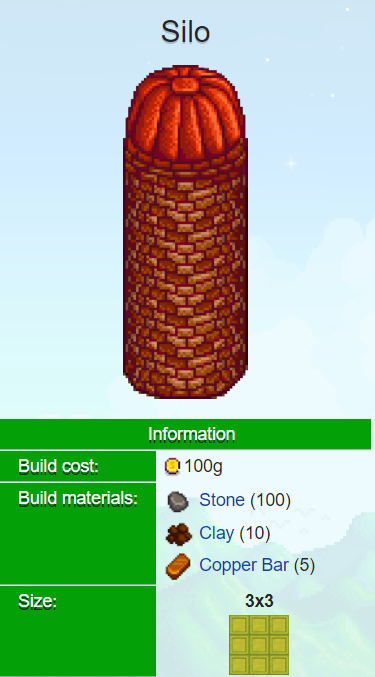 Silo cost, materials, size stardew valley